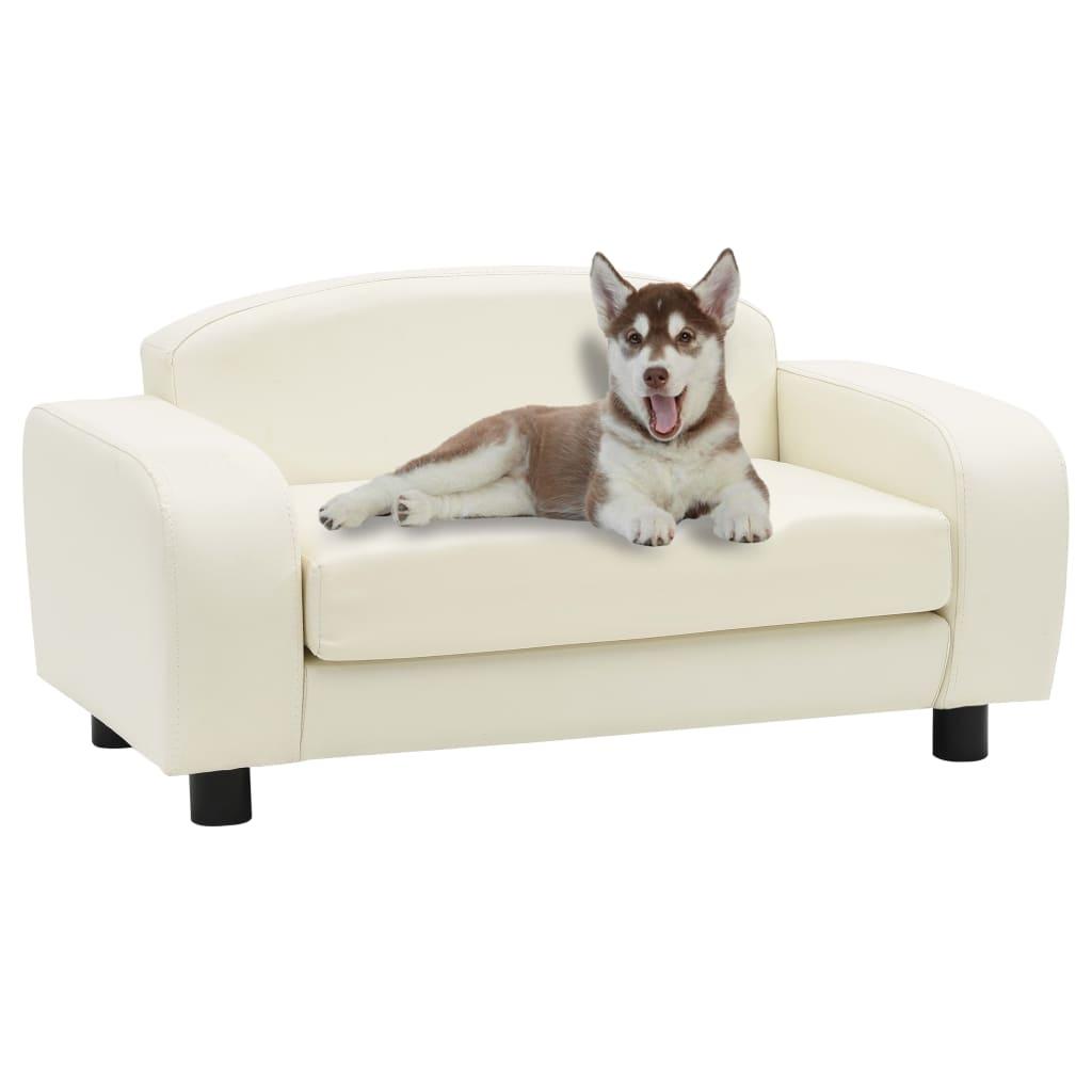 vidaXL Canapea pentru câini, alb, 80 x 50 x 40 cm, piele ecologică poza vidaxl.ro