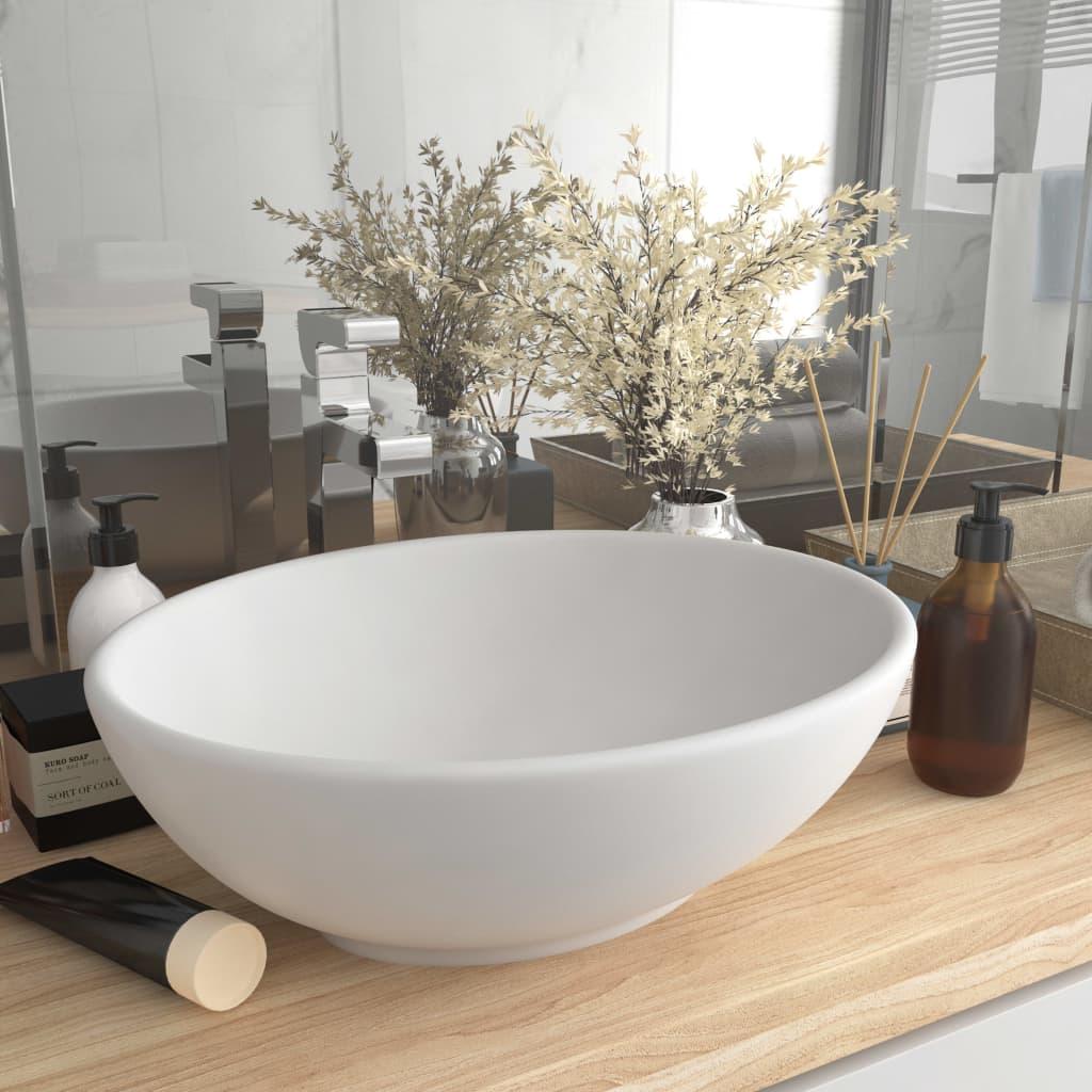 vidaXL Chiuvetă de lux, alb mat, 40 x 33 cm, ceramică, formă ovală vidaxl.ro