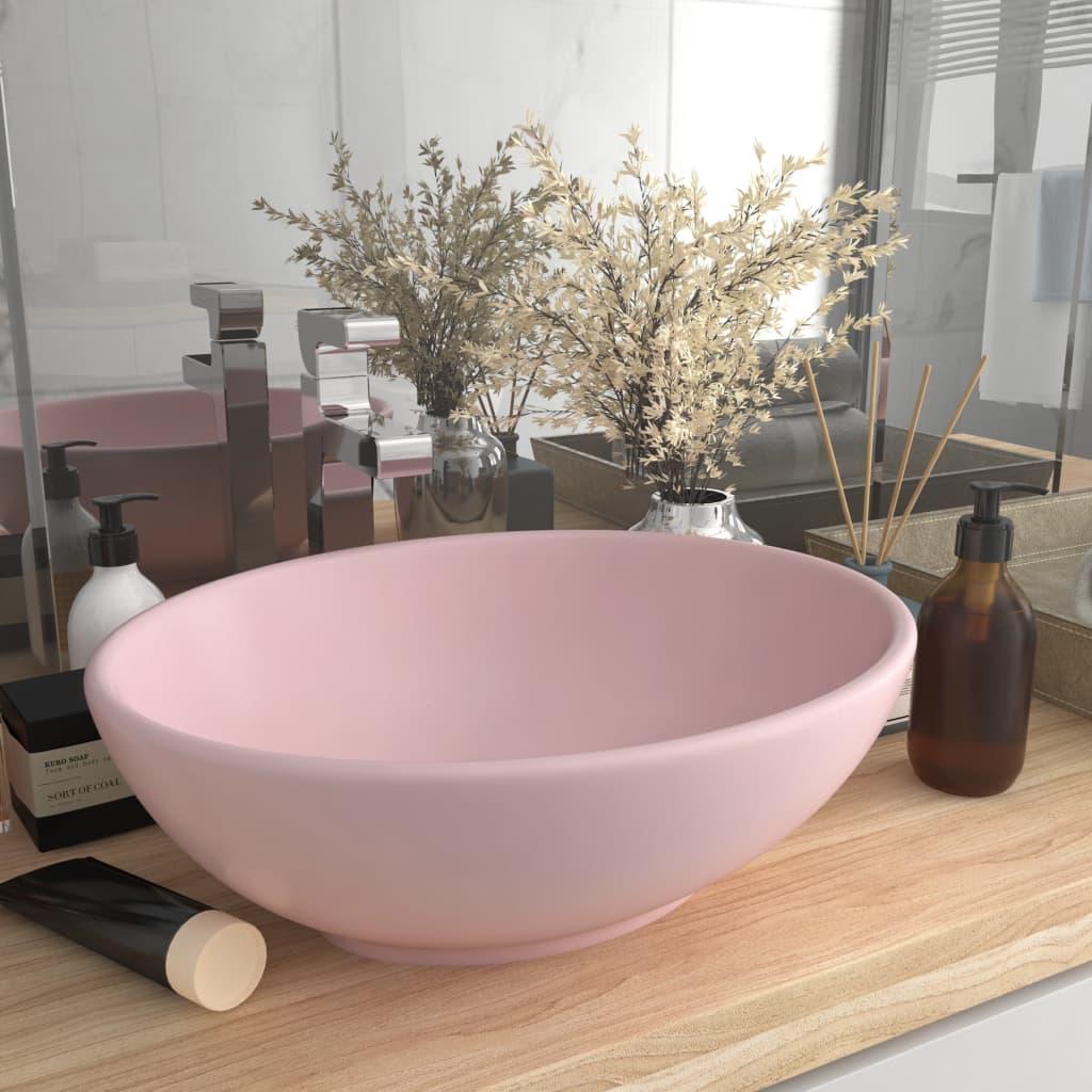 vidaXL Chiuvetă de lux, roz mat, 40 x 33 cm, ceramică, formă ovală vidaxl.ro