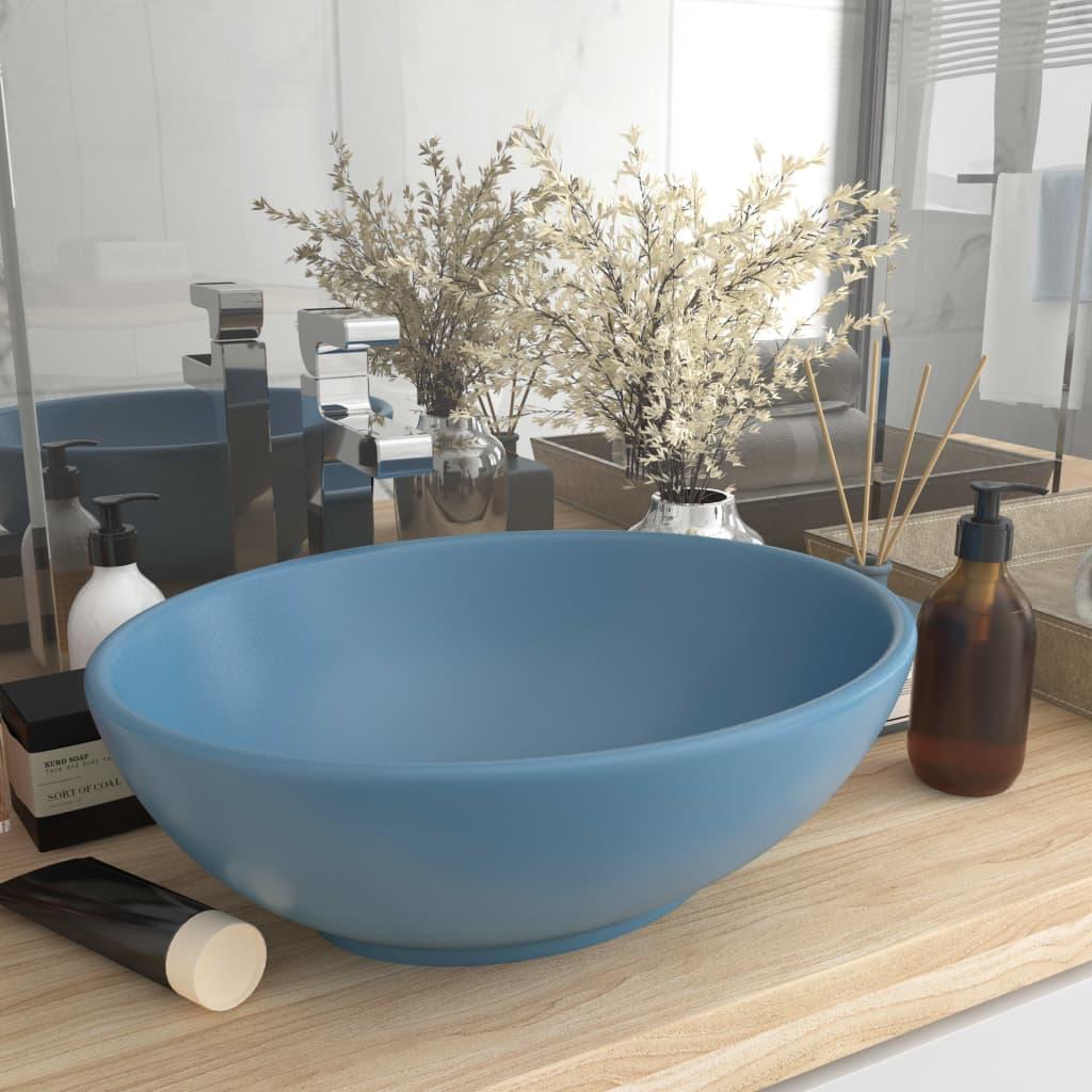 vidaXL Chiuvetă de lux, albastru mat, 40x33 cm, ceramică, formă ovală vidaxl.ro