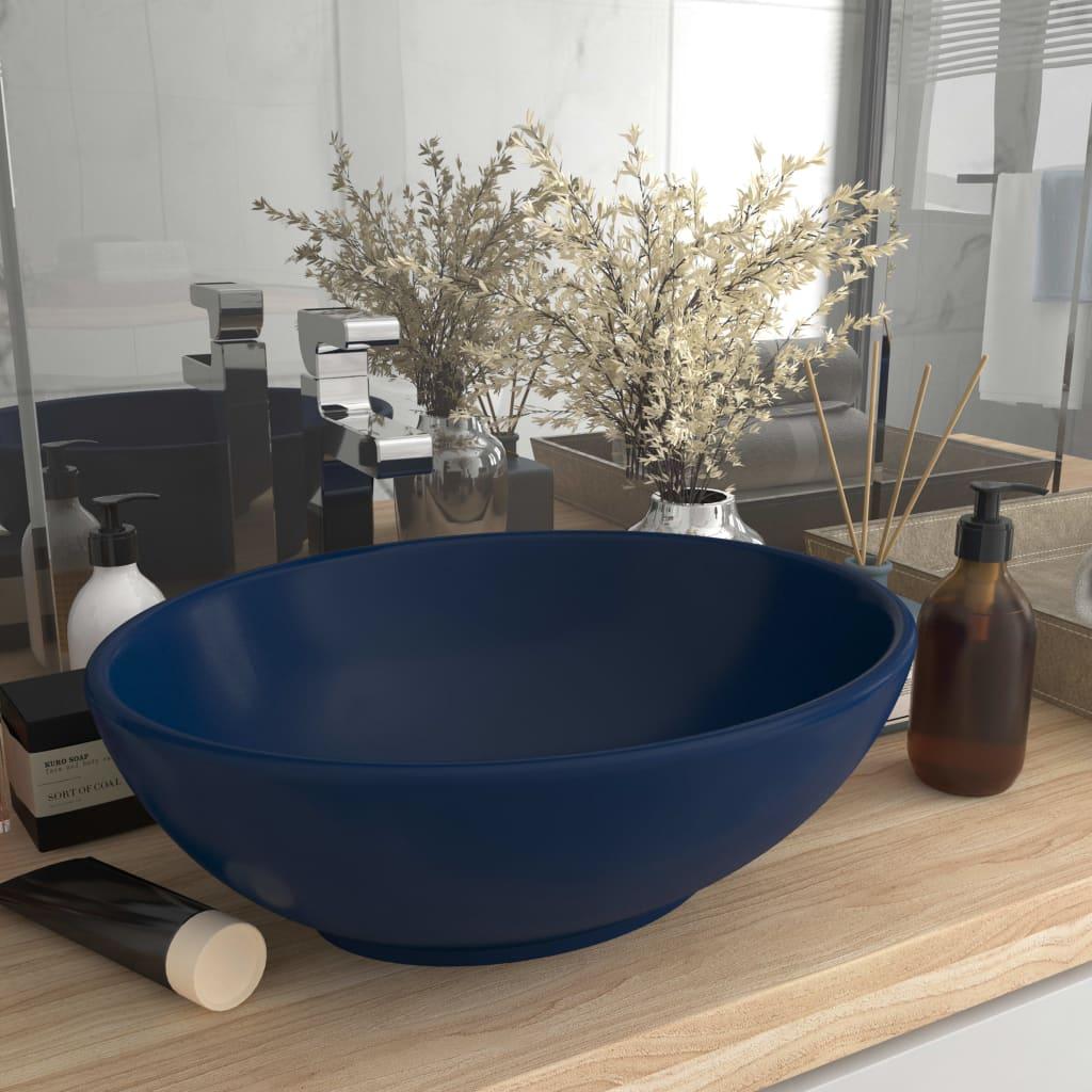 vidaXL Chiuvetă de lux, albastru mat, 40x33 cm, ceramică, formă ovală poza 2021 vidaXL