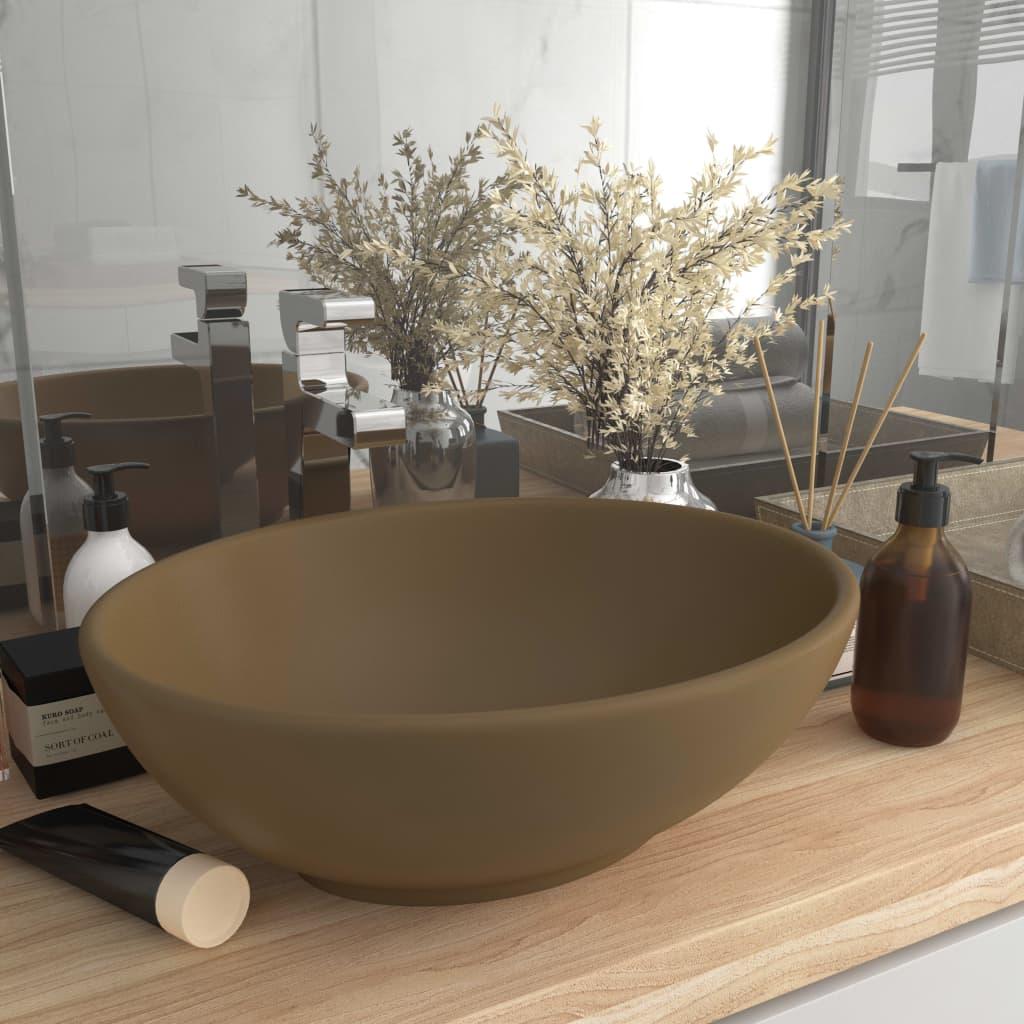 vidaXL Chiuvetă de lux, crem mat, 40 x 33 cm, ceramică, formă ovală poza vidaxl.ro