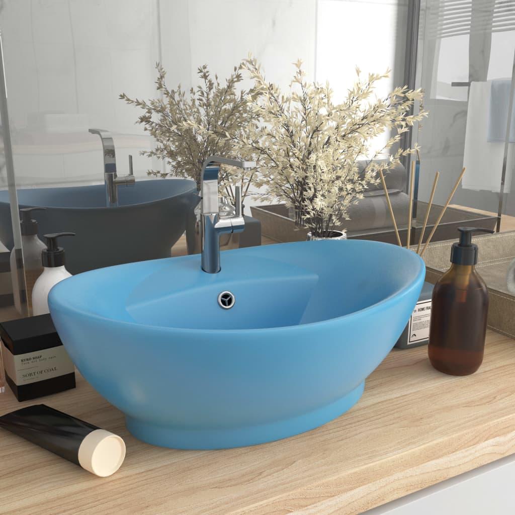 vidaXL Chiuvetă lux cu preaplin, bleu mat, 58,5x39 cm, ceramică, oval imagine vidaxl.ro
