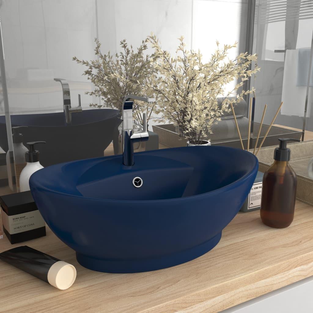 vidaXL Chiuvetă lux preaplin albastru mat 58,5x39 cm ceramică oval poza vidaxl.ro