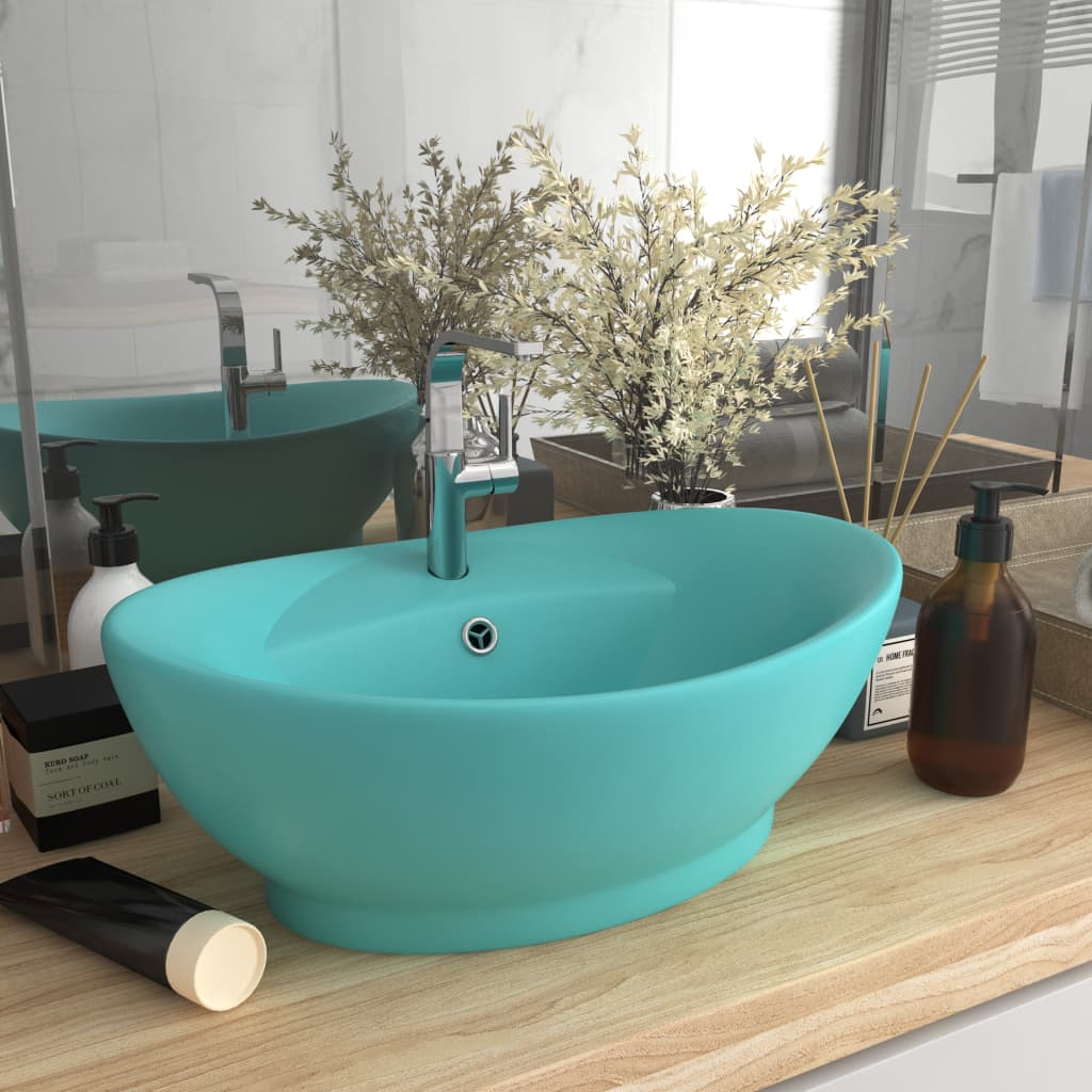 vidaXL Chiuvetă lux preaplin verde deschis mat 58,5x39cm ceramică oval vidaxl.ro