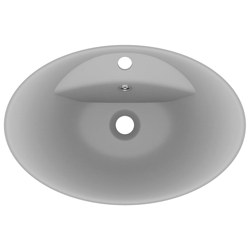 vidaXL Wastafel met overloop ovaal 58,5x39 cm keramiek mat lichtgrijs