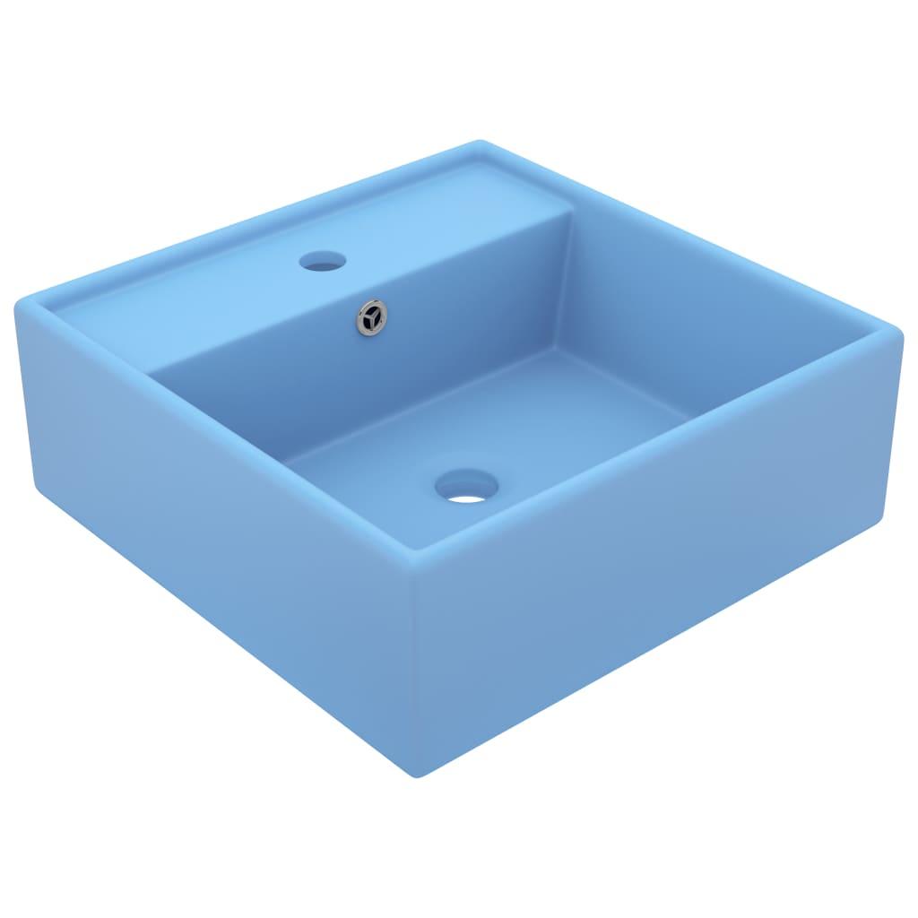 vidaXL Chiuvetă lux preaplin, bleu mat, 41x41 cm, ceramică, pătrat vidaxl.ro