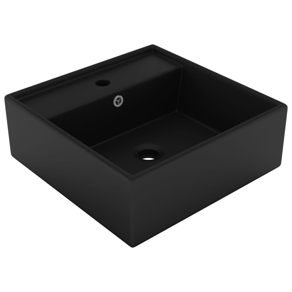 vidaXL Chiuvetă lux cu preaplin negru mat, 41x41 cm, ceramică, pătrat poza vidaxl.ro