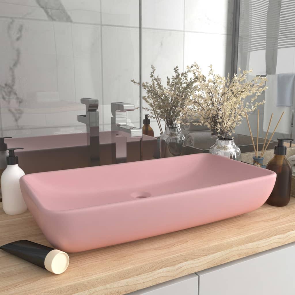 vidaXL Chiuvetă dreptunghiulară de lux, roz mat, 71 x 38 cm, ceramică imagine vidaxl.ro