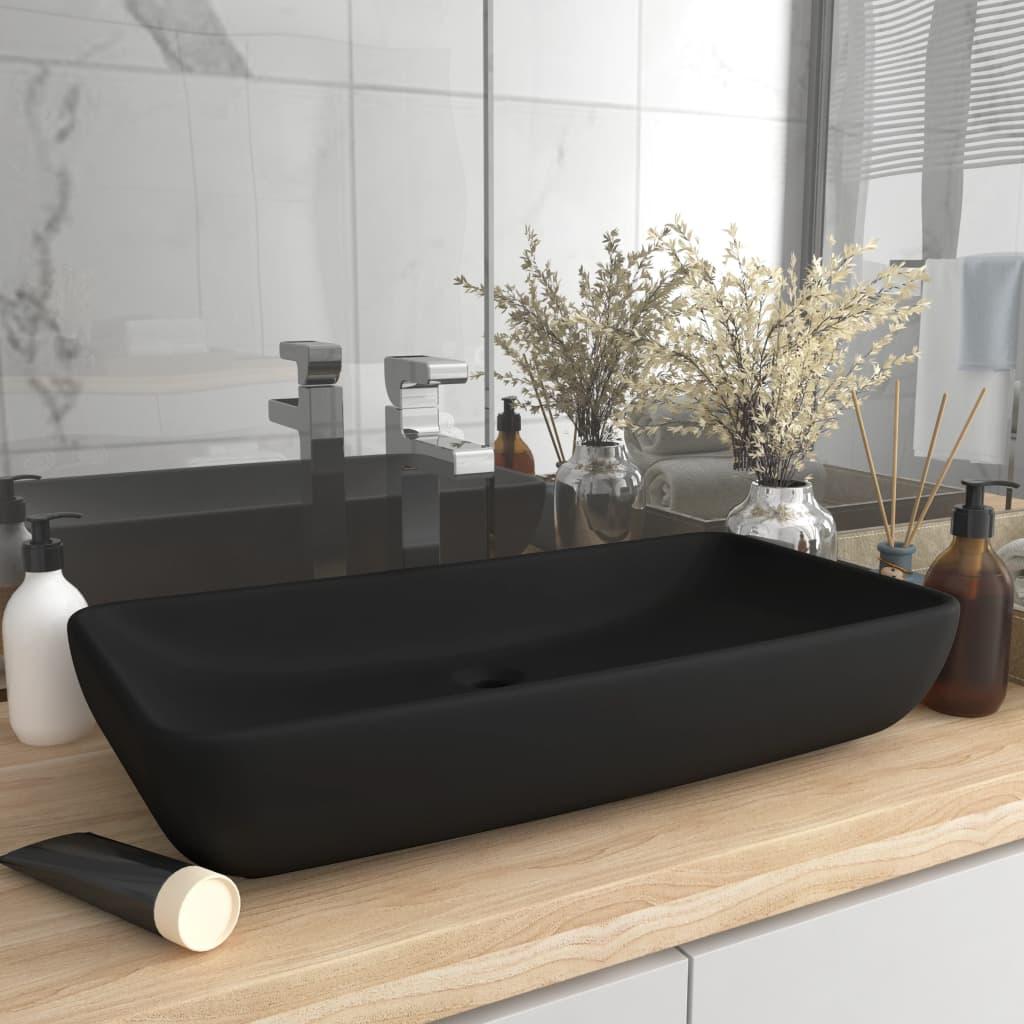 vidaXL Chiuvetă dreptunghiulară de lux, negru mat, 71x38 cm, ceramică poza 2021 vidaXL