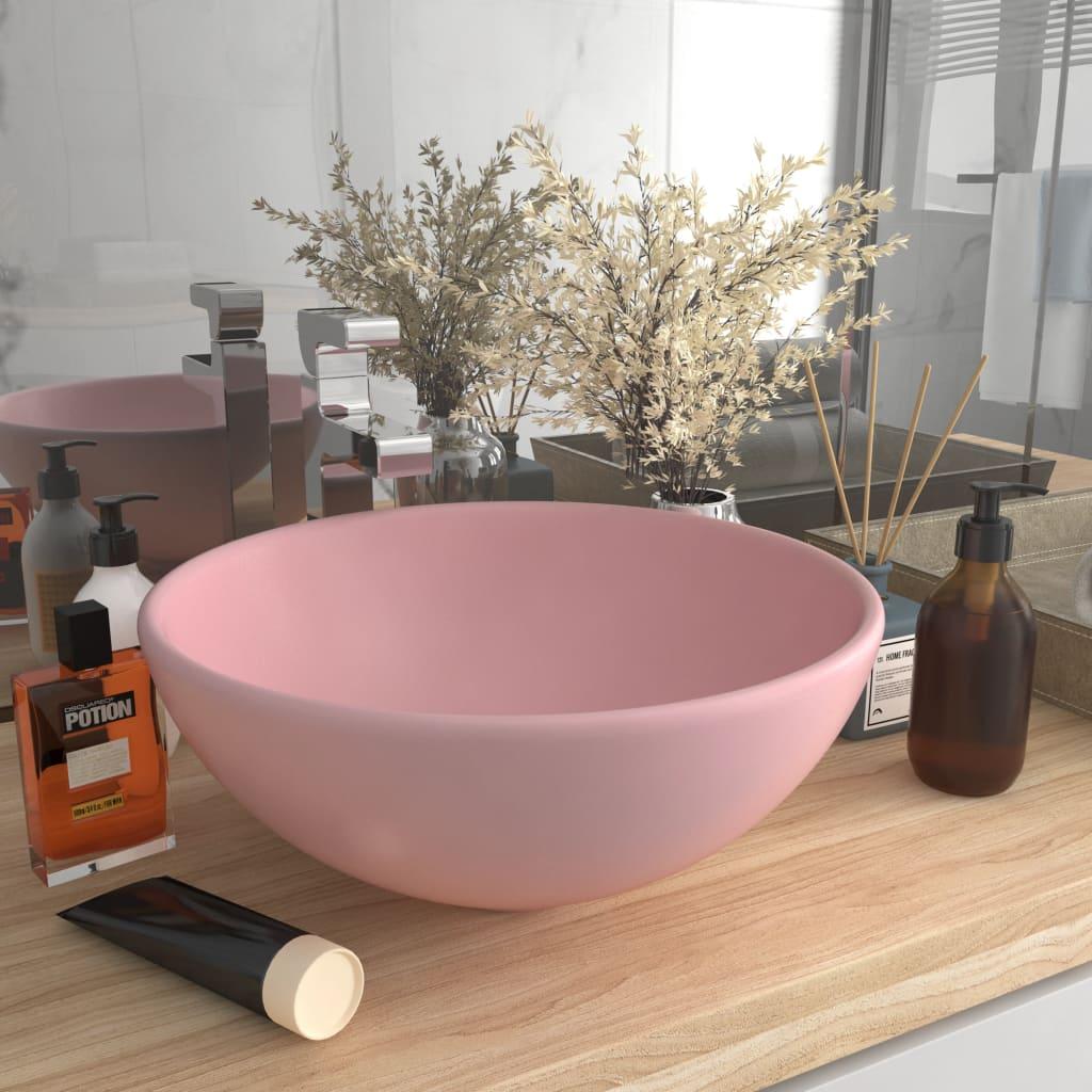 vidaXL Chiuvetă baie lux, roz mat, 32,5x14 cm, ceramică, rotund vidaxl.ro