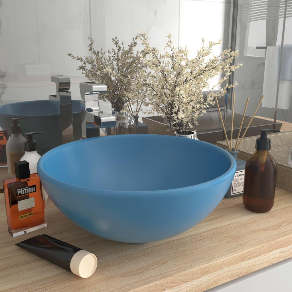 Luxusní umyvadlo kulaté matné světle modré 32,5x14 cm keramické