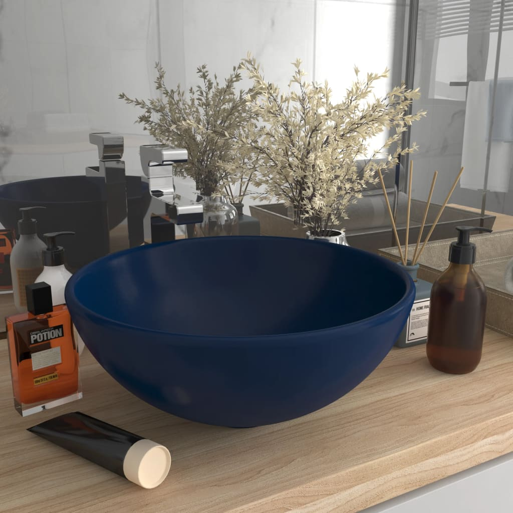 Luxusní umyvadlo kulaté matné tmavě modré 32,5x14 cm keramické