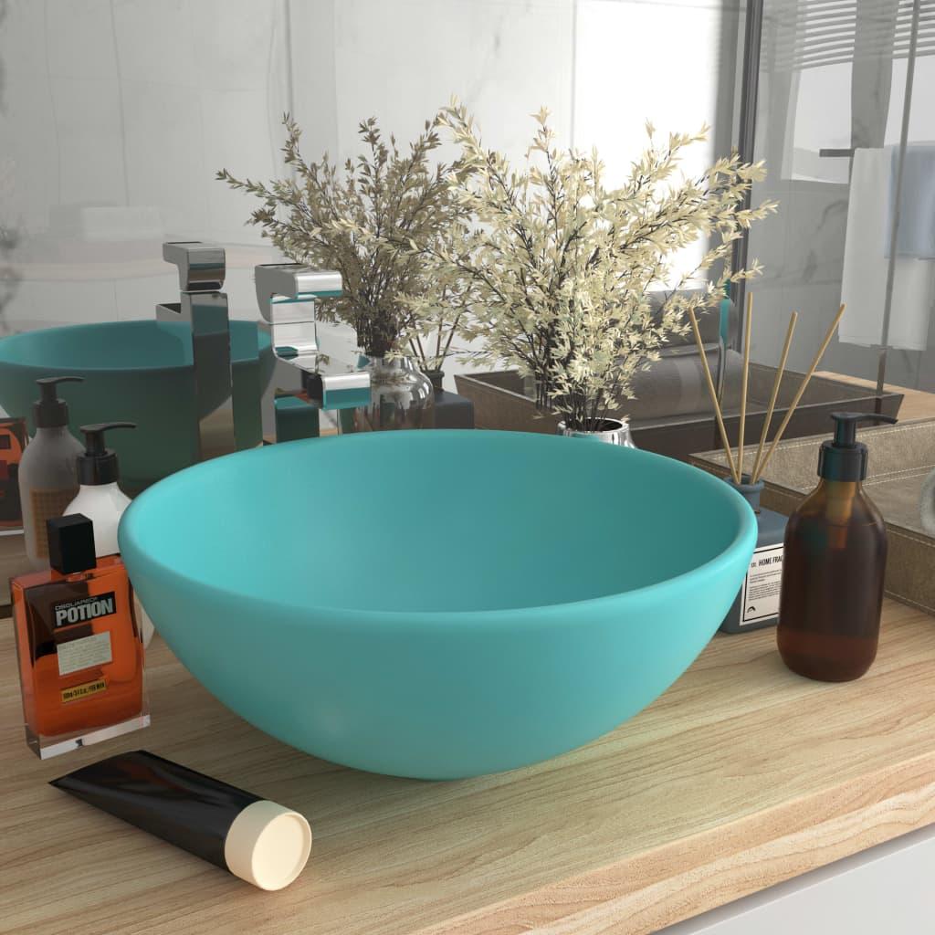vidaXL Chiuvetă baie lux verde deschis mat 32,5x14 cm ceramică rotund poza vidaxl.ro