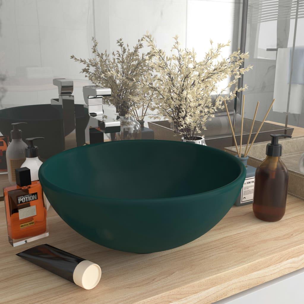 Luxusní umyvadlo kulaté matné tmavě zelené 32,5x14 cm keramické