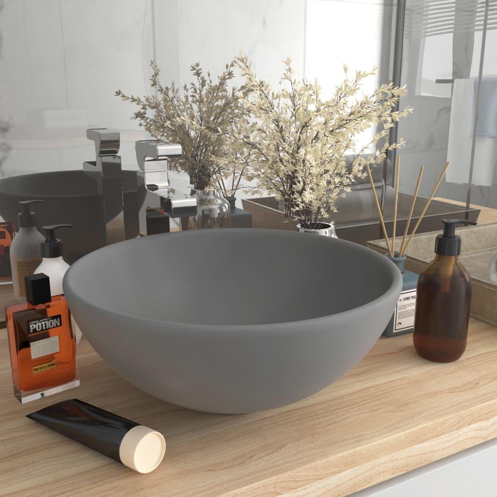 Luxusní umyvadlo kulaté matné světle šedé 32,5x14 cm keramické