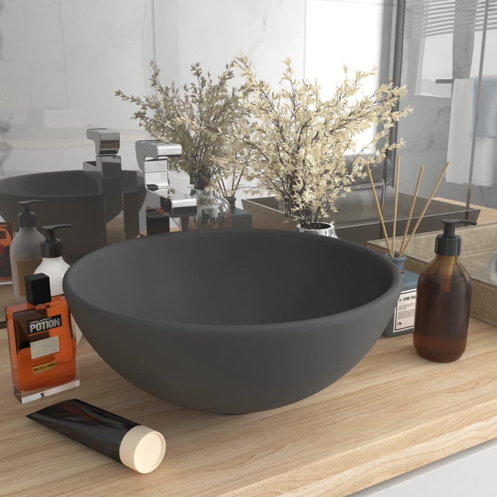 vidaXL Chiuvetă baie lux, gri închis mat, 32,5x14 cm, ceramică, rotund poza vidaxl.ro