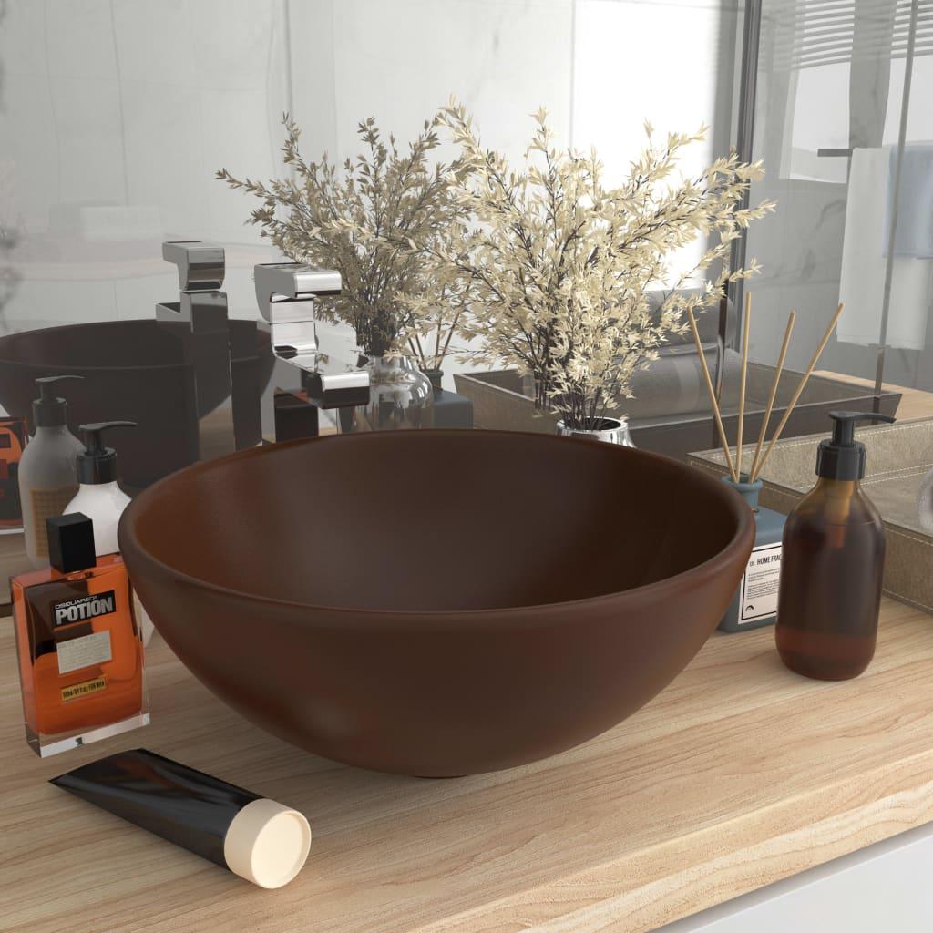 vidaXL Chiuvetă baie lux maro închis mat 32,5x14 cm ceramică rotund poza vidaxl.ro
