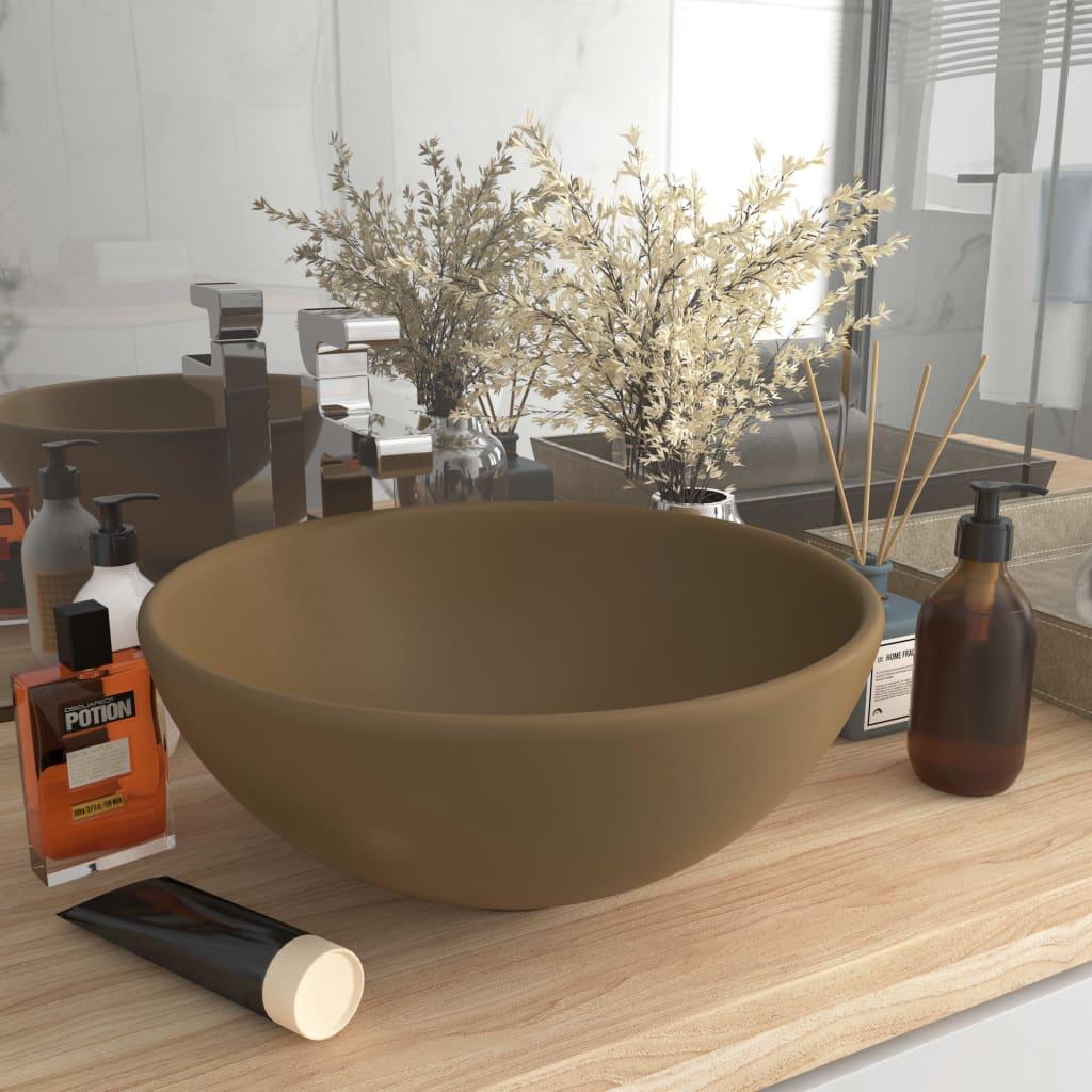 Luxusní umyvadlo kulaté matné krémové 32,5 x 14 cm keramické
