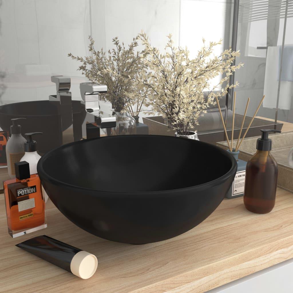 vidaXL Chiuvetă baie lux, negru mat, 32,5x14 cm, ceramică, rotund vidaxl.ro