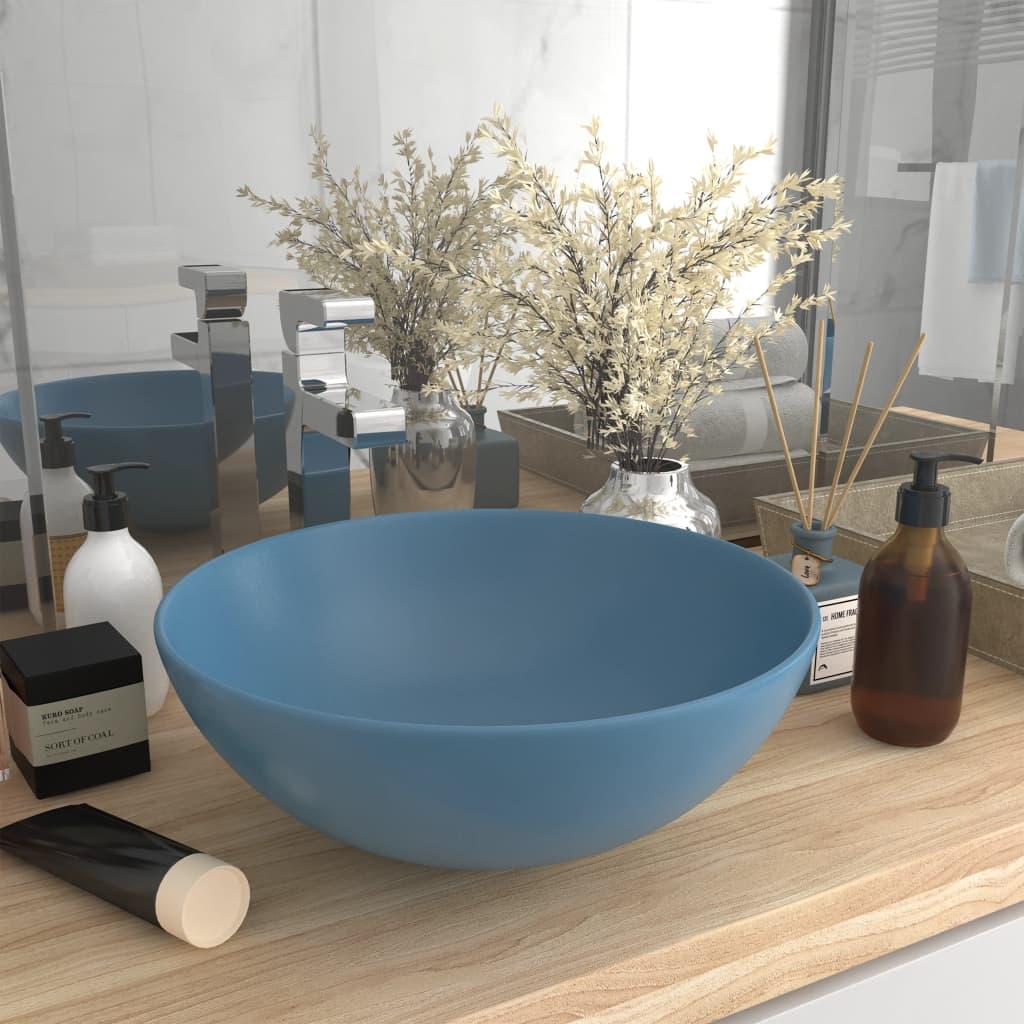 vidaXL Chiuvetă pentru baie, albastru deschis, ceramică, rotund poza vidaxl.ro