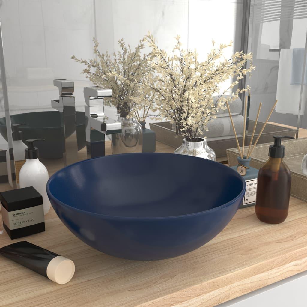 vidaXL Chiuvetă de baie, albastru închis, ceramică, rotund imagine vidaxl.ro