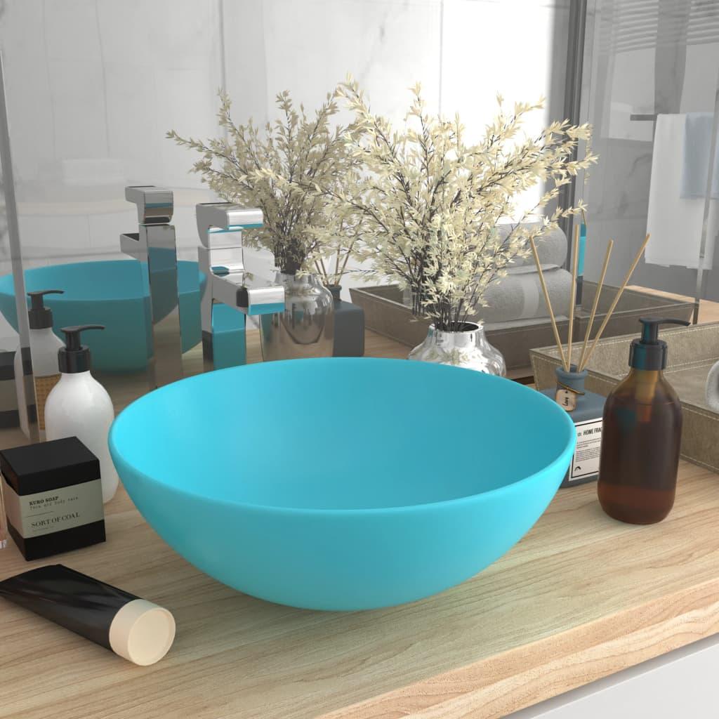 vidaXL Chiuvetă de baie, verde deschis, ceramică, rotund poza 2021 vidaXL