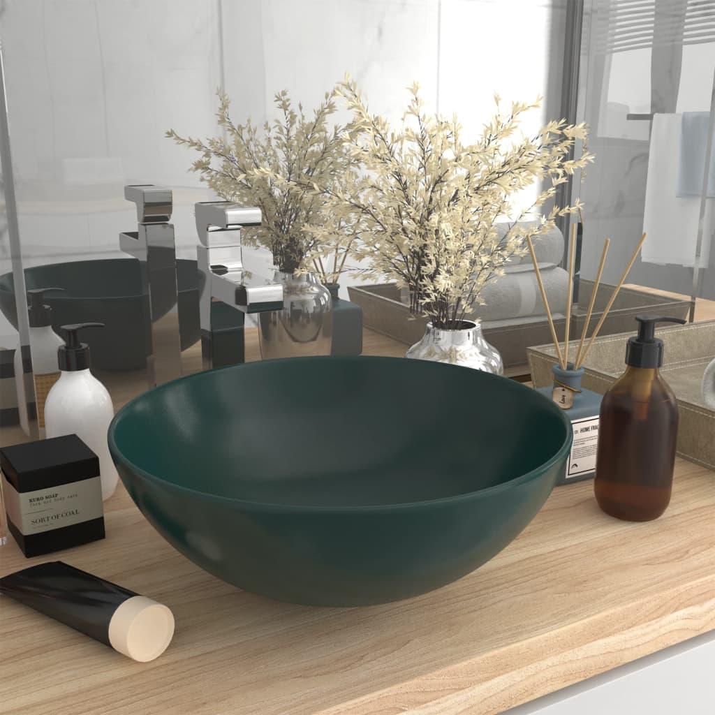 vidaXL Chiuvetă de baie, verde închis, ceramică, rotund vidaxl.ro