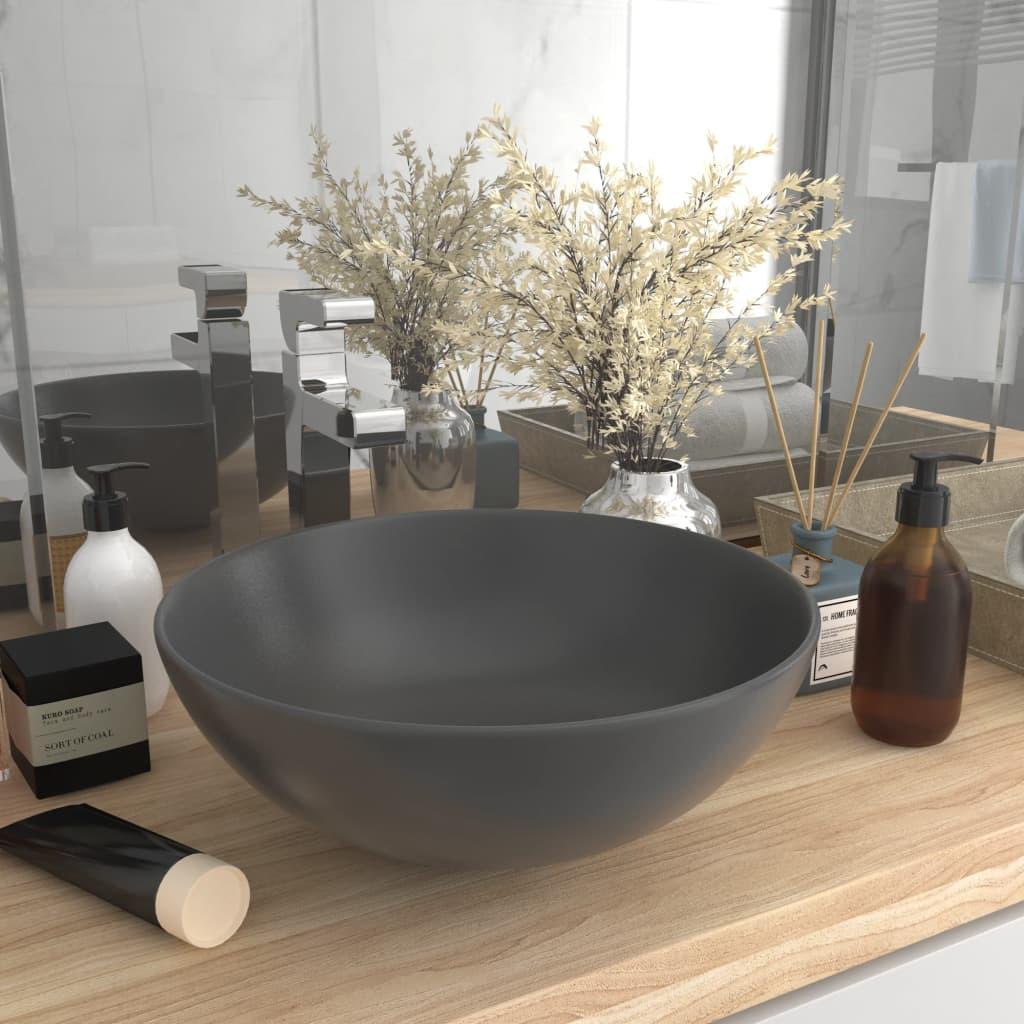 vidaXL Chiuvetă de baie, gri închis, ceramică, rotund vidaxl.ro