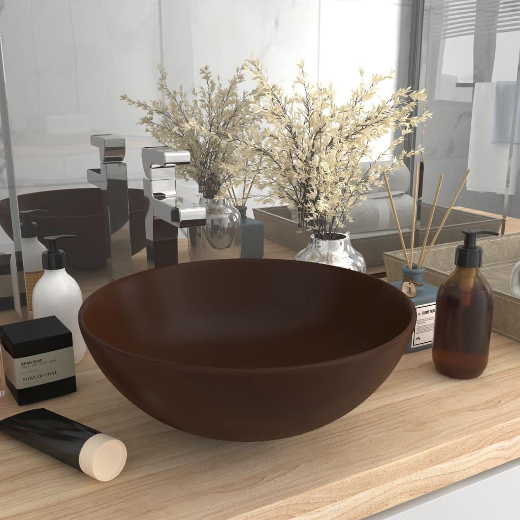 vidaXL Chiuvetă de baie, maro închis, ceramică, rotund poza vidaxl.ro