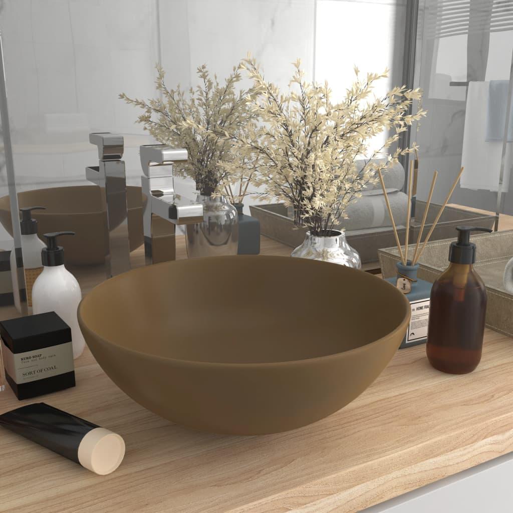 Koupelnové umyvadlo keramické matné krémové kulaté