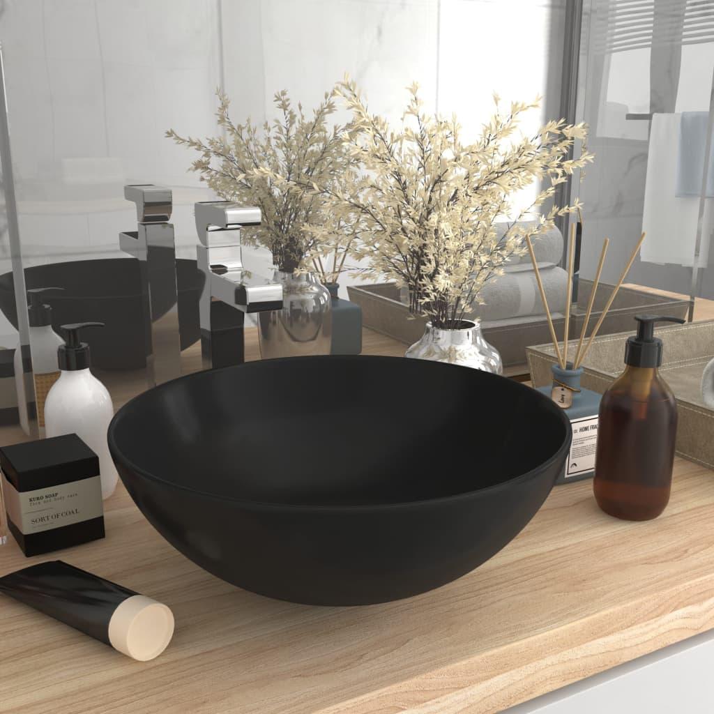 vidaXL Chiuvetă pentru baie, negru mat, ceramică, rotund vidaxl.ro