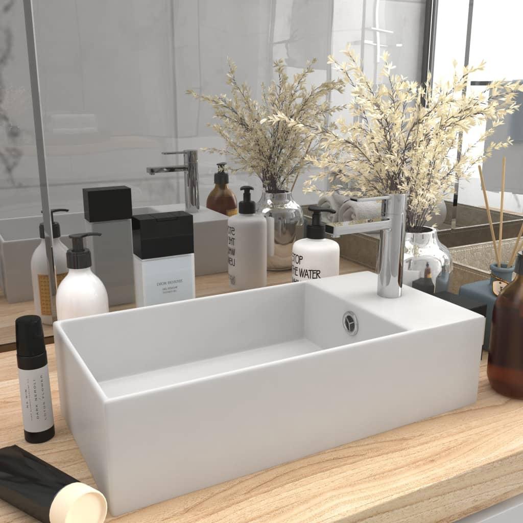 vidaXL Chiuvetă de baie cu preaplin, alb mat, ceramică vidaxl.ro