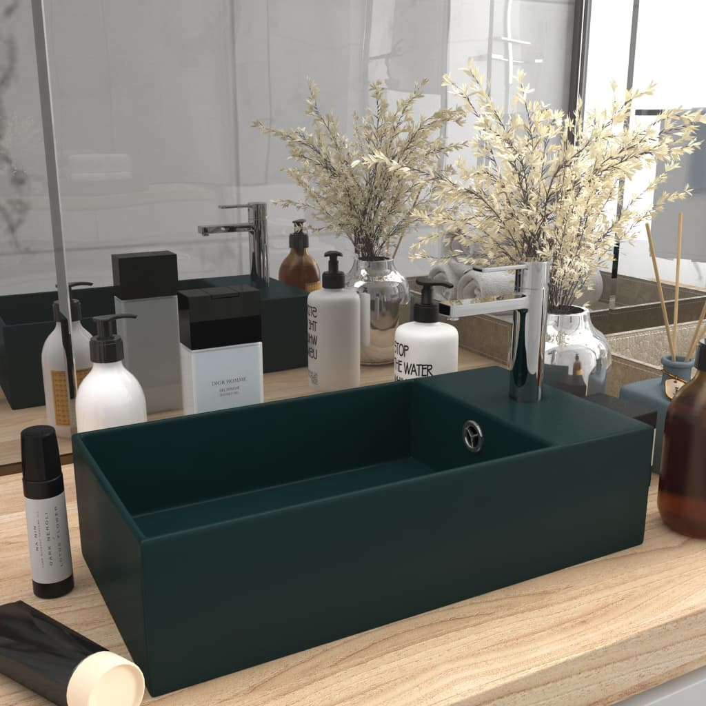 vidaXL Chiuvetă de baie cu preaplin, verde închis, ceramică poza vidaxl.ro
