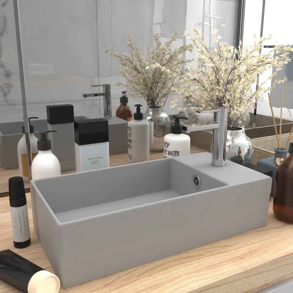 vidaXL Chiuvetă de baie cu preaplin, gri deschis, ceramică poza vidaxl.ro