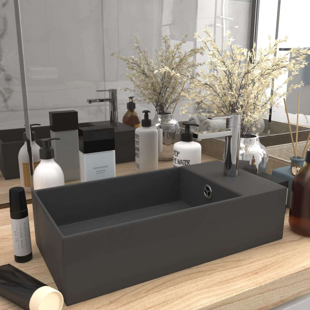 vidaXL Chiuvetă de baie cu preaplin, gri închis, ceramică vidaxl.ro