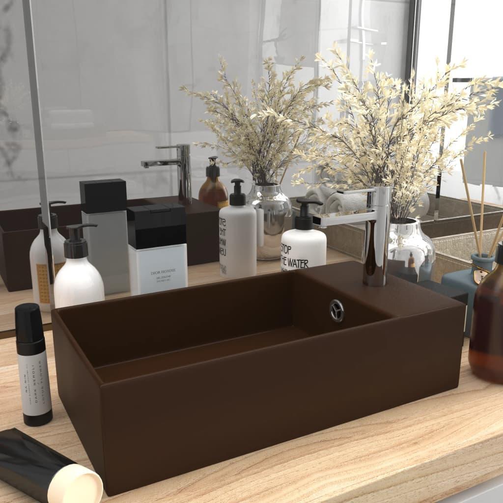 vidaXL Chiuvetă de baie cu preaplin, maro închis, ceramică poza vidaxl.ro