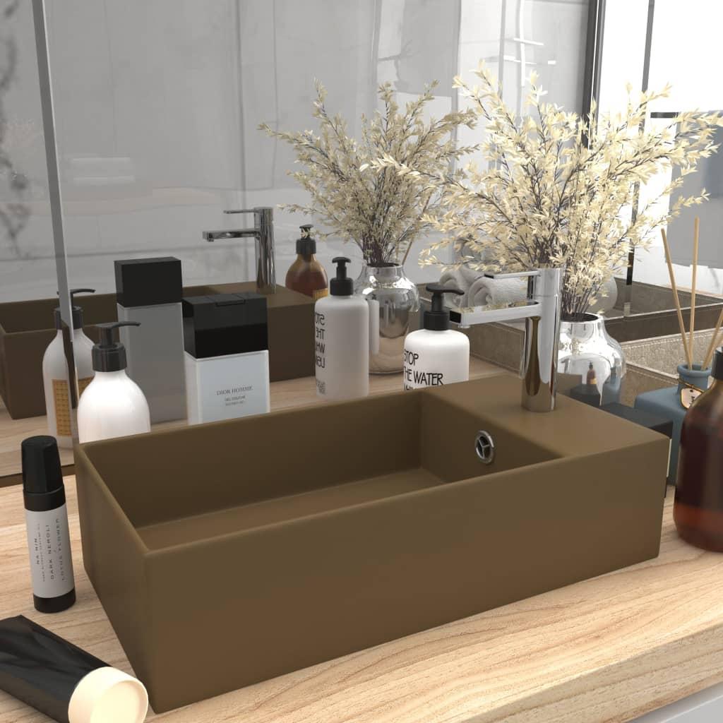 vidaXL Chiuvetă de baie cu preaplin, crem mat, ceramică vidaxl.ro