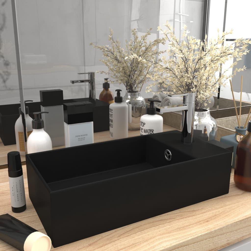 vidaXL Chiuvetă de baie cu preaplin, negru mat, ceramică vidaxl.ro