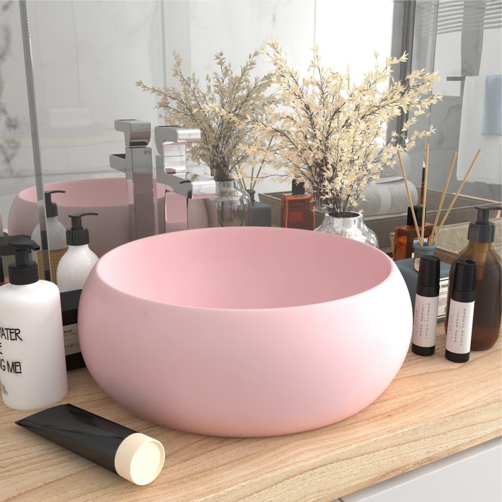 vidaXL Chiuvetă de baie lux roz mat 40x15 cm ceramică rotund vidaxl.ro