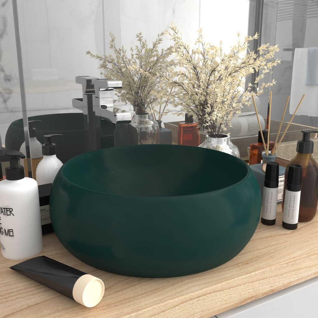 vidaXL Chiuvetă baie lux verde închis mat 40x15 cm ceramică rotund imagine vidaxl.ro
