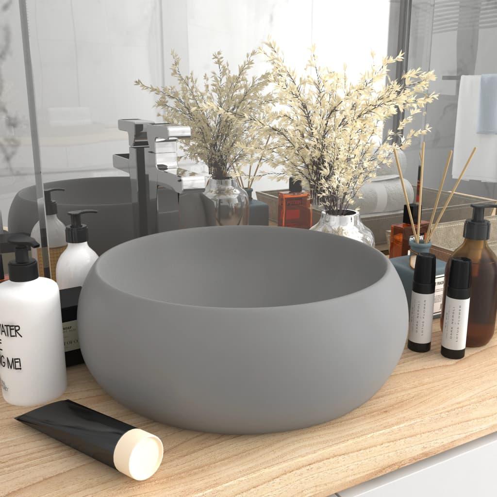 vidaXL Chiuvetă baie lux gri deschis mat 40x15 cm ceramică rotund poza 2021 vidaXL