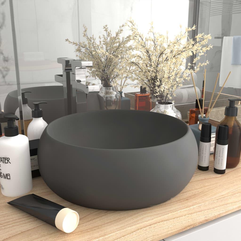 vidaXL Chiuvetă baie lux, gri închis mat, 40x15 cm, ceramică, rotund poza vidaxl.ro