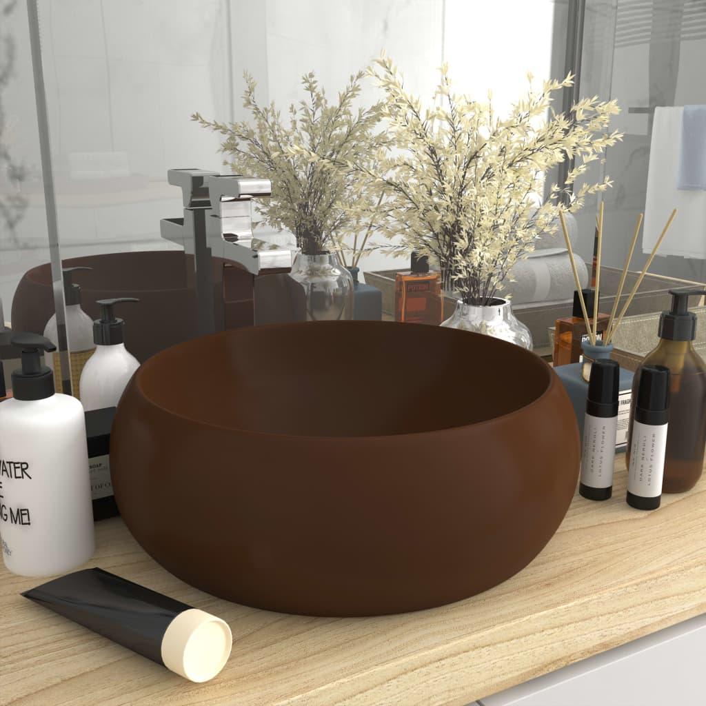 vidaXL Chiuvetă de baie lux maro închis mat 40x15 cm ceramică rotund poza vidaxl.ro