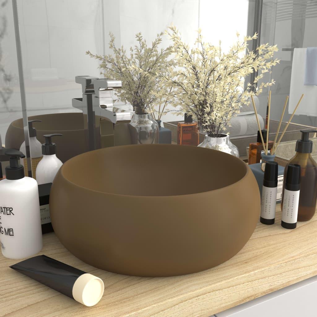 vidaXL Chiuvetă baie lux, crem mat, 40x15 cm, ceramică, rotund imagine vidaxl.ro
