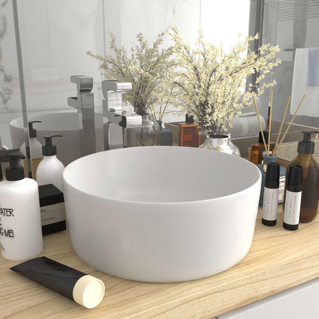 vidaXL Chiuvetă de baie lux, alb mat, 40 x 15 cm, ceramică, rotund vidaxl.ro