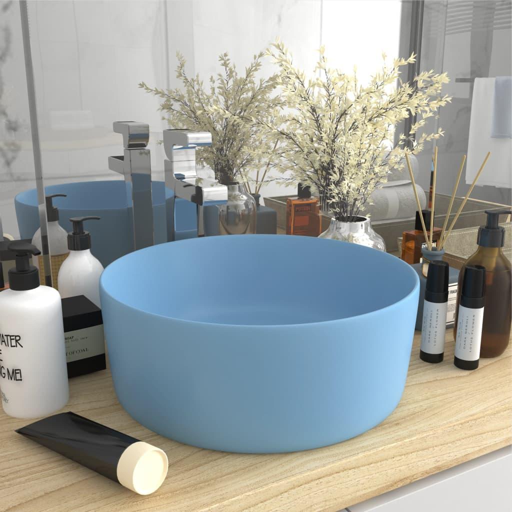 Luxusní umyvadlo kulaté matné světle modré 40 x 15 cm keramické