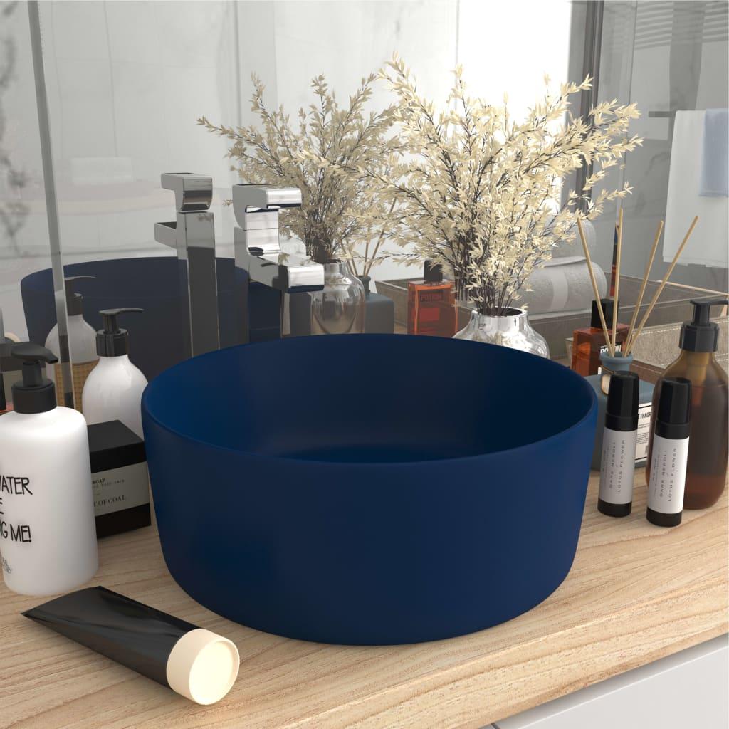 vidaXL Chiuvetă baie lux albastru închis mat 40x15 cm ceramică rotund vidaxl.ro