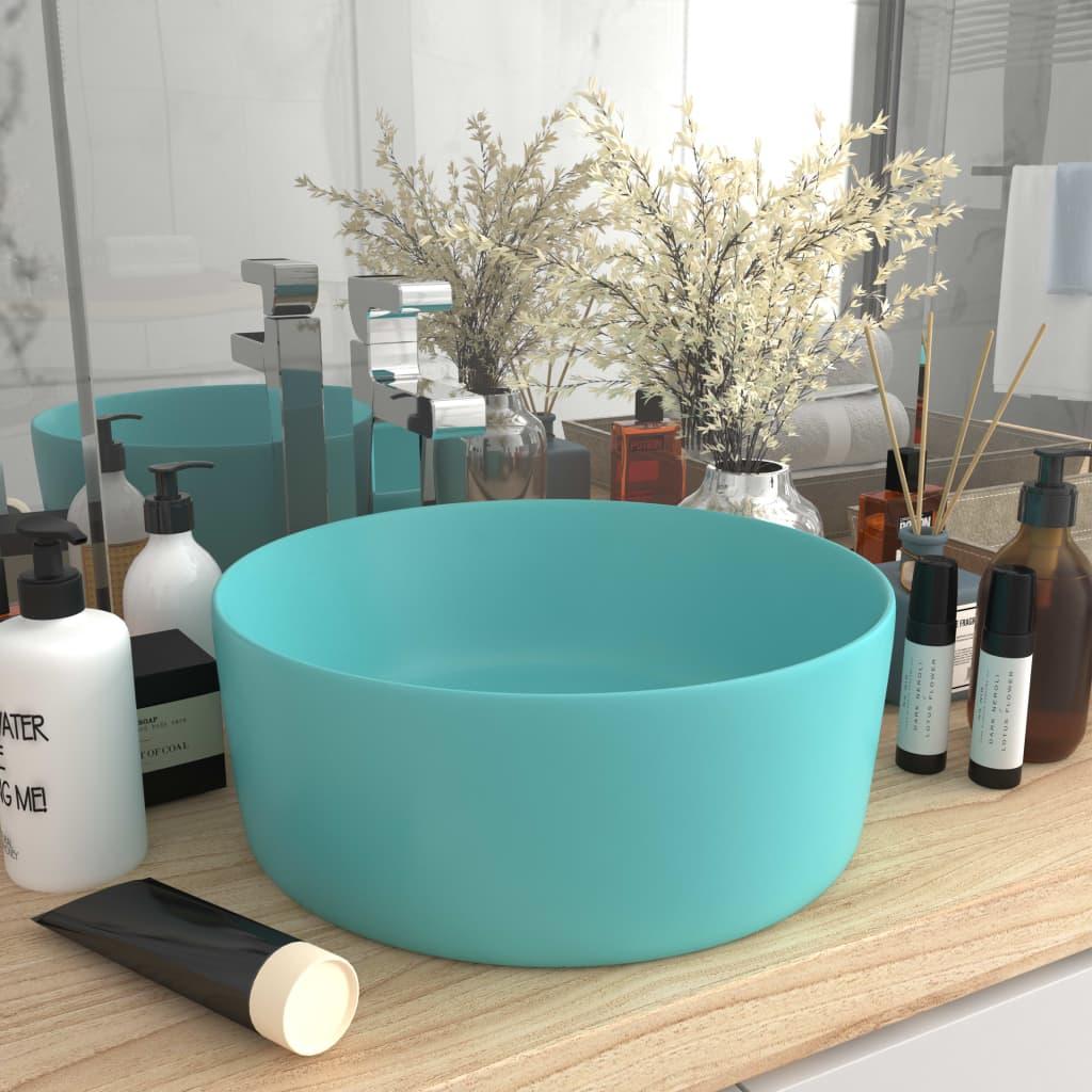 vidaXL Chiuvetă baie lux verde deschis mat 40x15 cm ceramică rotund imagine vidaxl.ro
