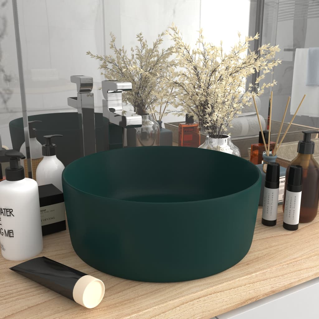 vidaXL Chiuvetă baie lux verde închis mat 40x15 cm ceramică rotund poza vidaxl.ro